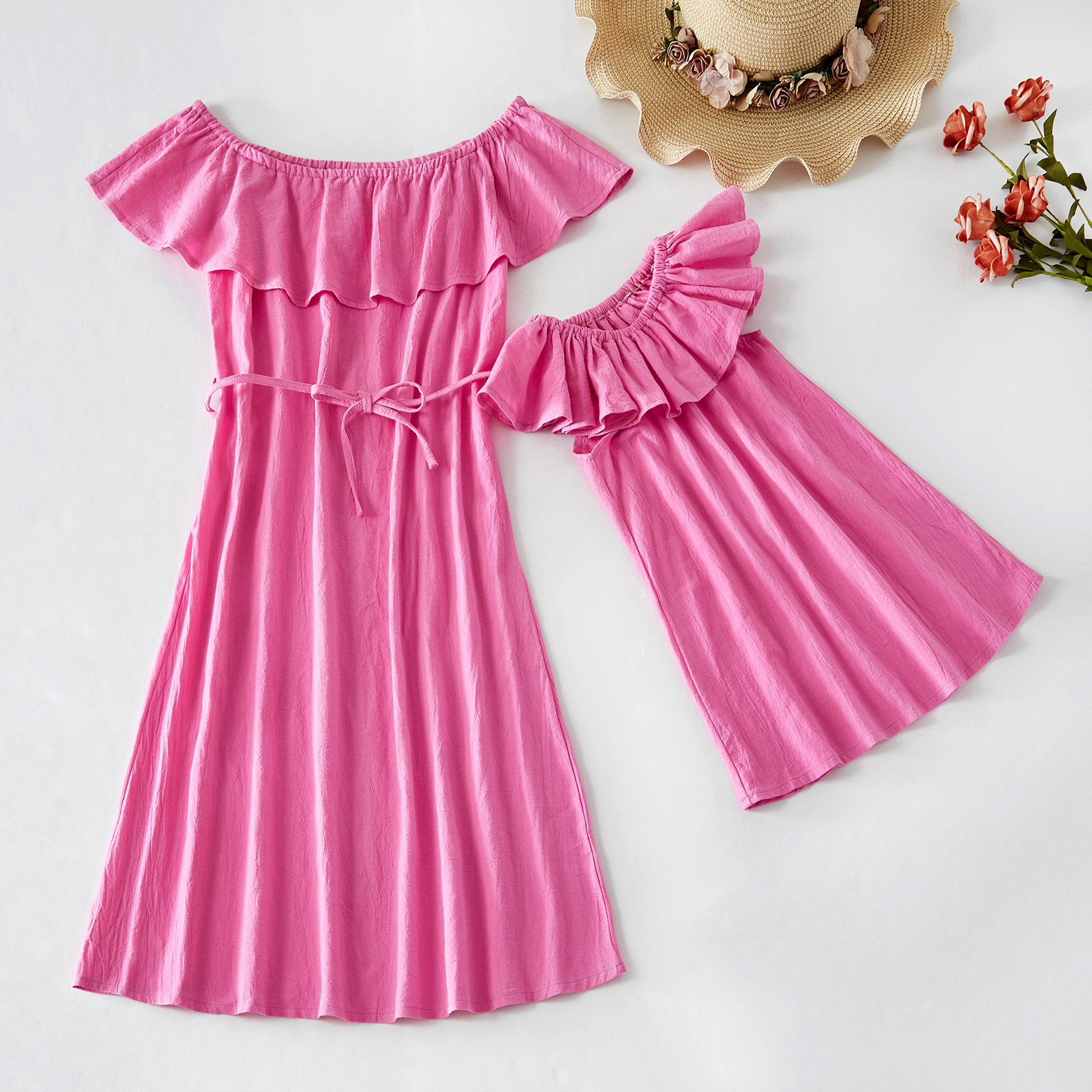 boat-neck-mom-mother-and-daughter-dresses-family-look-mommy-and-me-clothes-mum-mama-baby-dress-family-matching-clothes-outfits