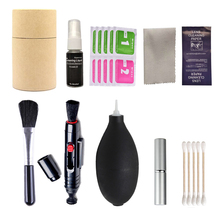 цена на 9in1 Camera Cleaning Kit Suit Dust Cleaner Lens Brush Air Blower Wipes Clean Cloth kit for Gopro Canon Nikon Camcorder VCR