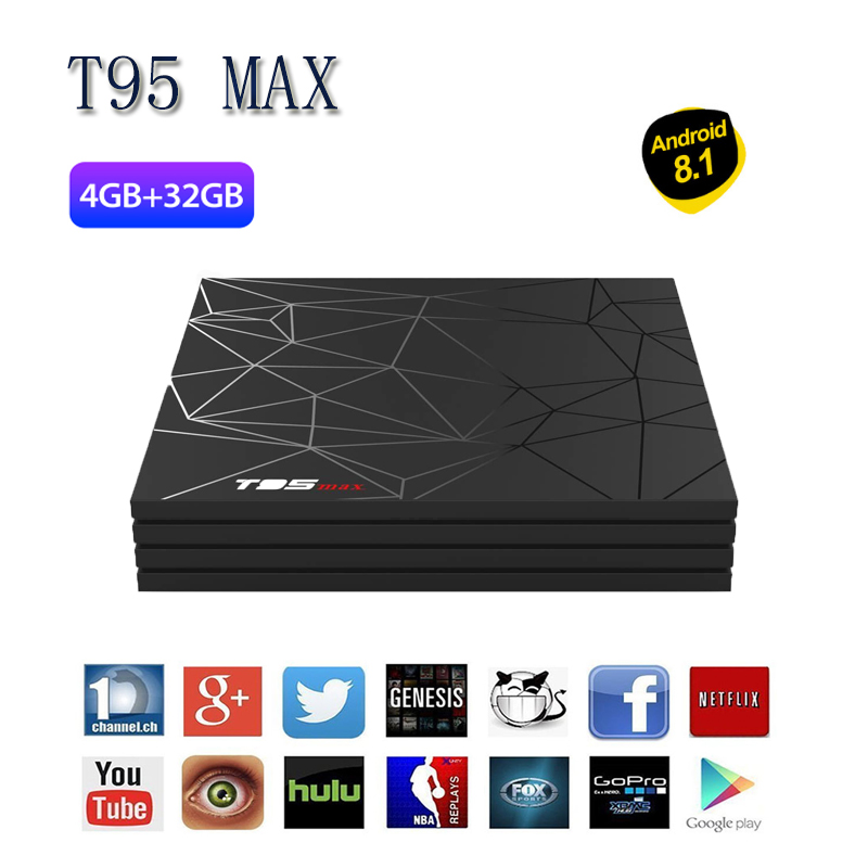 DMY T95 MAX H6 Android 8.1 USB 3.0 RAM 4G 32 GB 1080 P WIFI 2.4G HDMI 2.0 Android Box DC 5 V 2A Mali-T720MP2 nouveau décodeur chaud