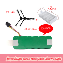 NI MH 14.4V 3500mAh panda X500 Battery*1+Side Brush*2 Pair+Hepa Filter*2 for Ecovacs Mirror CR120 Vacuum cleaner Dibea X500 X580