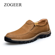 ZOGEER Big Size 38-47 Men's Casual Shoes, Genuine Leather Men Loafers, New Designer Slip On Man Moccasin Shoes