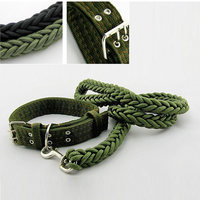 Pet Dog Collar And Leads Nylon Strong Safety Chain Traction Rope Pets Dog Collar Medium Dog