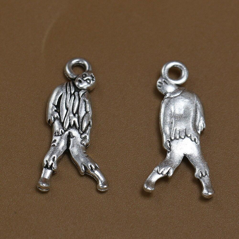 110pcs Exquisit Walking Dead Zombie charm 27*13mm notebook bag pendants Antique silver craft Jewelry earring bracelet necklace