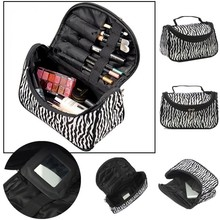 Moda de Múltiples Funciones Portable Impermeable Bolsa de Maquillaje Mujeres Zebra Neceser de Viaje Bolsa de Almacenamiento Organizador Caja Bolsa de Cosméticos