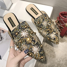 купить 2019 Rivet Women Mules Slip On Chinese Print Outdoor Slippers Women Flats Pointed Toe Heel Summer Shoes Woman chaussures femme по цене 985.32 рублей