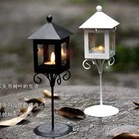Zakka Classic Floor Lantern Wrought Iron Home Decoration Gift Candle Holder