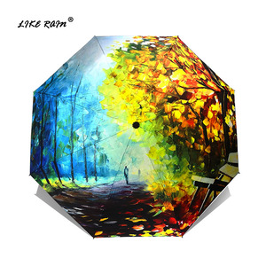 Image 1 - כמו גשם שמן ציור נשי מטריית גשם נשים מתקפל שמשייה מופשט אמנות עיצוב מטריות אנטי Uv שמש ילדים מטריות YHS02