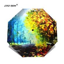 LIKE RAIN 여성 우산 비 여자 접는 파라솔 추상 미술 디자인 우산 안티 자외선 태양 어린이 우산 yhs02