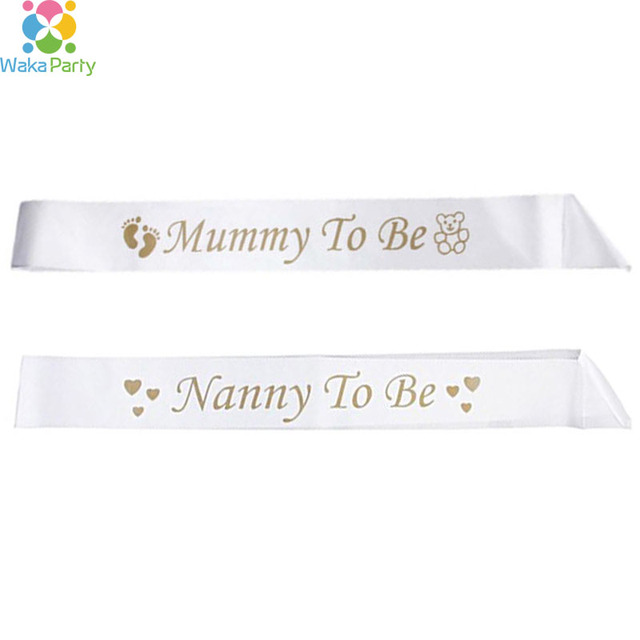 Mummy To Be Nanny To Be Writing Sash Ribbon Baby Shower Party Boy Girl  Decoration Favor