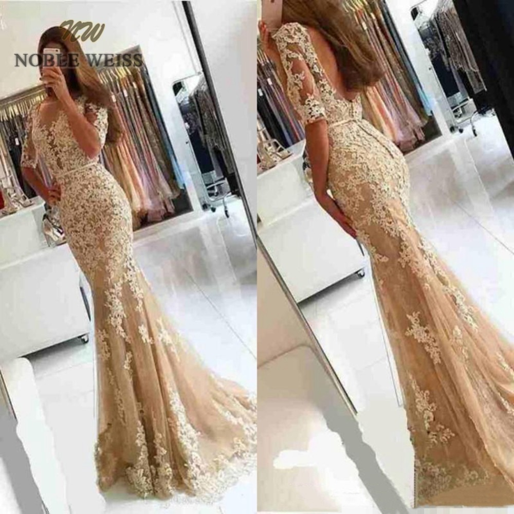 prom     dresses   2019 champagne tulle vestido de gala sexy bare back appliques   prom     dress   mermaid party   dress   with sweep train