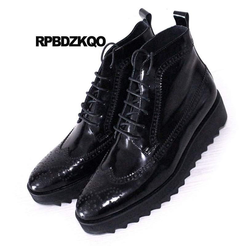 7f2990d504 Brogue Ankle High Sole Oxford Platform Dress Shoes Pointed Toe Booties  Thick Soled Mens Black Patent ...