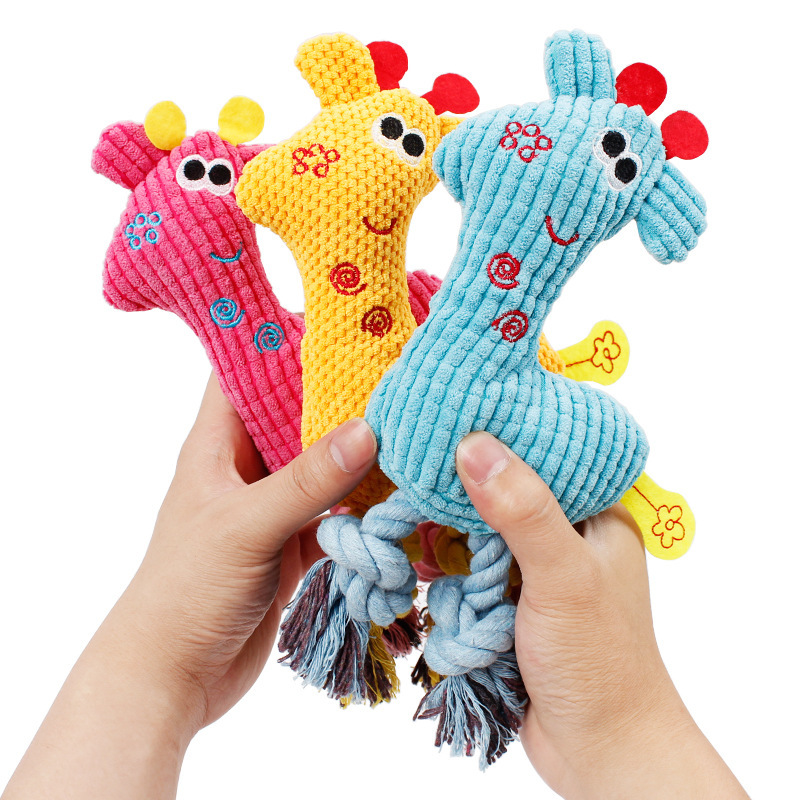 Dog Chew Squeak Toys Giraffe Soft Fleece Rope Interative Toy Animals Plush Puppy Deer for Pet Dogs Cat Chew Squeaking Toy in Dog Toys from Home Garden