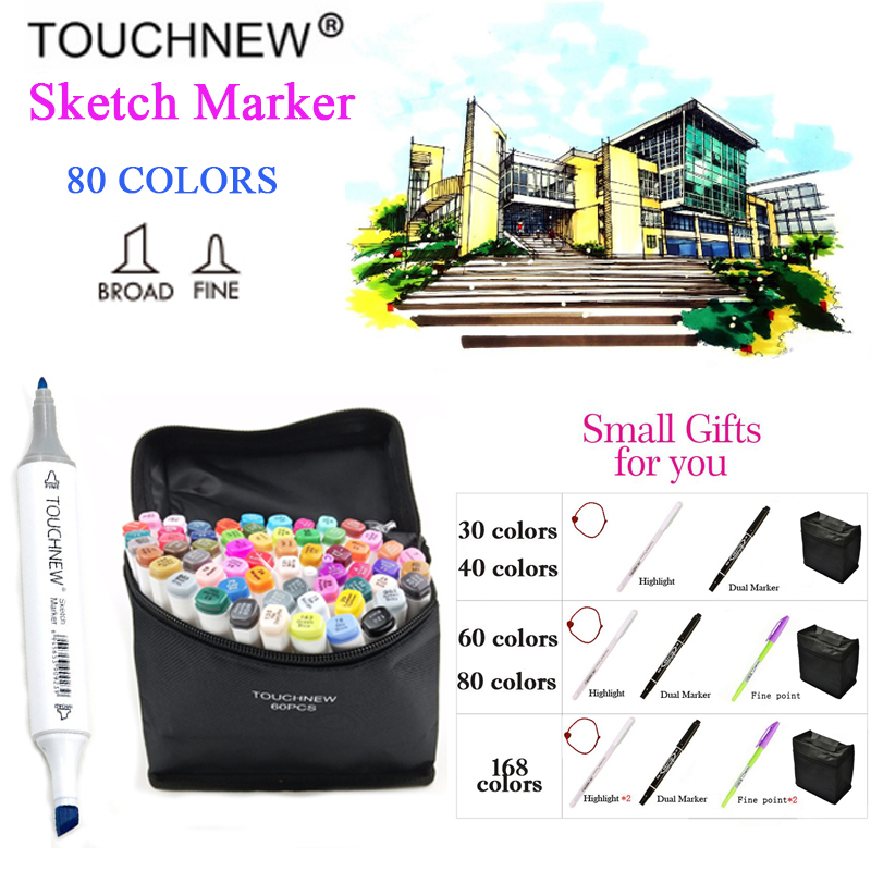 TOUCHNEW 30/40/60/80/168 Colors Art Markers Alcohol Based Markers Drawing Pen Set Manga Dual Headed Art Sketch Marker Design Pen touchnew 168 colors artist painting art marker alcohol based sketch marker for drawing manga design art set supplies designer