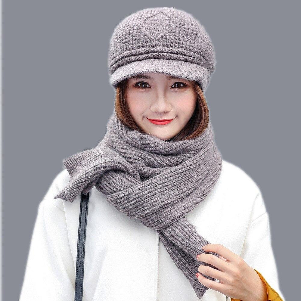 jiangxihuitian Balaclava wool winter hat and scarf Set women beanies beret warm knitted Scarf and Hat mom Xmas Gift stylish bowknot wool beret