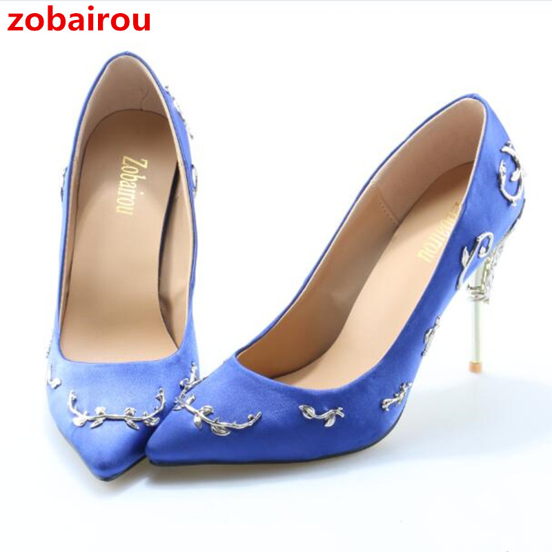e85602bfea014 Zobairou Sapatos Mulher Pointy Toe Stunning Wedding Shoes Woman Filigree Leaves  Metal Heel Eden Pumps Bridal Satin High Heels-in Women s Pumps from Shoes  on ...