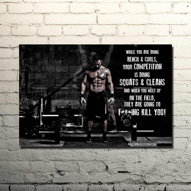 POPIGIST-Binaraga Motivational Penawaran Art Silk Cetak Poster 13x20 24x36 inches Gym Room Decor Kebugaran olahraga Gambar 023