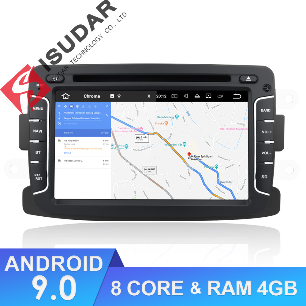 Lecteur multimédia de voiture Isudar Android 9 pour Dacia/Sandero/Duster/Renault/Captur/Lada/Xray 2/Logan 2 Auto Radio GPS 1 Din DSP DVR