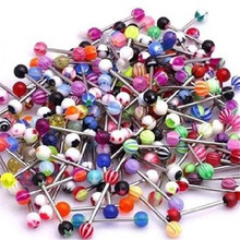 10Pcs  Mix Style barbell bar tongue piercing rings fashion stainless steel mixed candy colors men women body jewelry