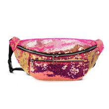 8PCS / LOT New Casual Glitter Women Fanny Pack Fashion Bling Female Zipper Waist Super Large Capacity Belt Bag