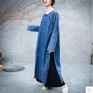 Dans Le Produits De Denim Grands Femmes Bleu Conception Chantiers Haut Gamme 2018La Lâche Robe Originale Nouveaux Printemps Coton Énumérés SVUMpz