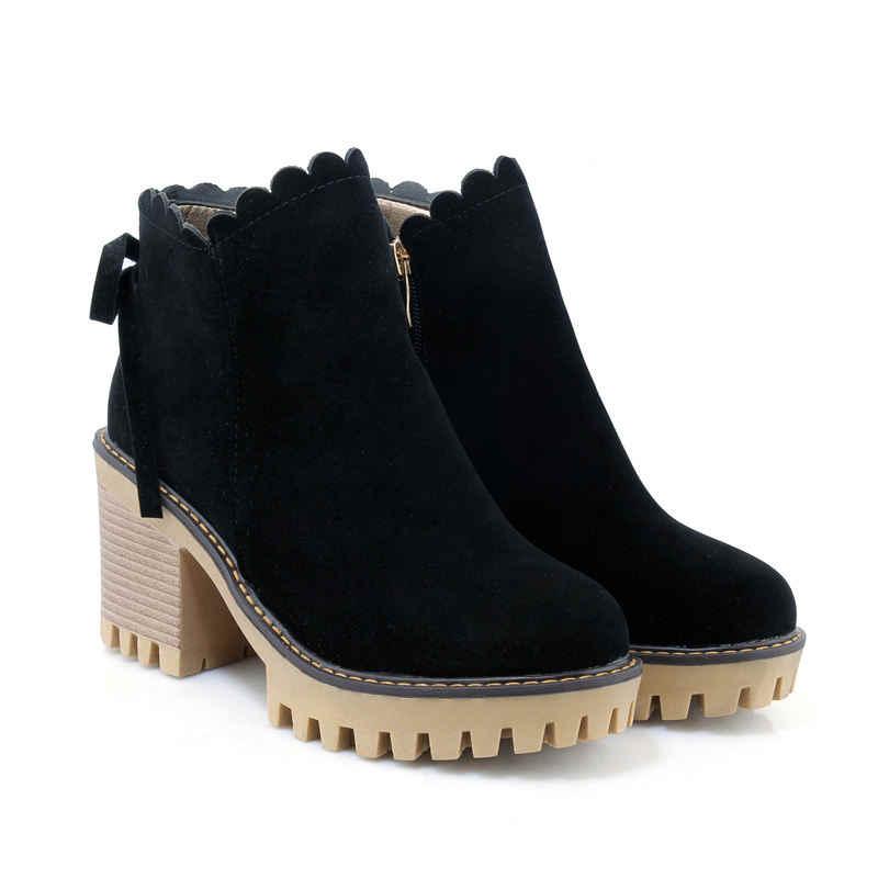 MORAZORA duży rozmiar jesień zima kwadratowy obcas do kostki buty dla kobiet krowy zamszowe skórzane buty okrągłe toe wysoki obcas platformy buty