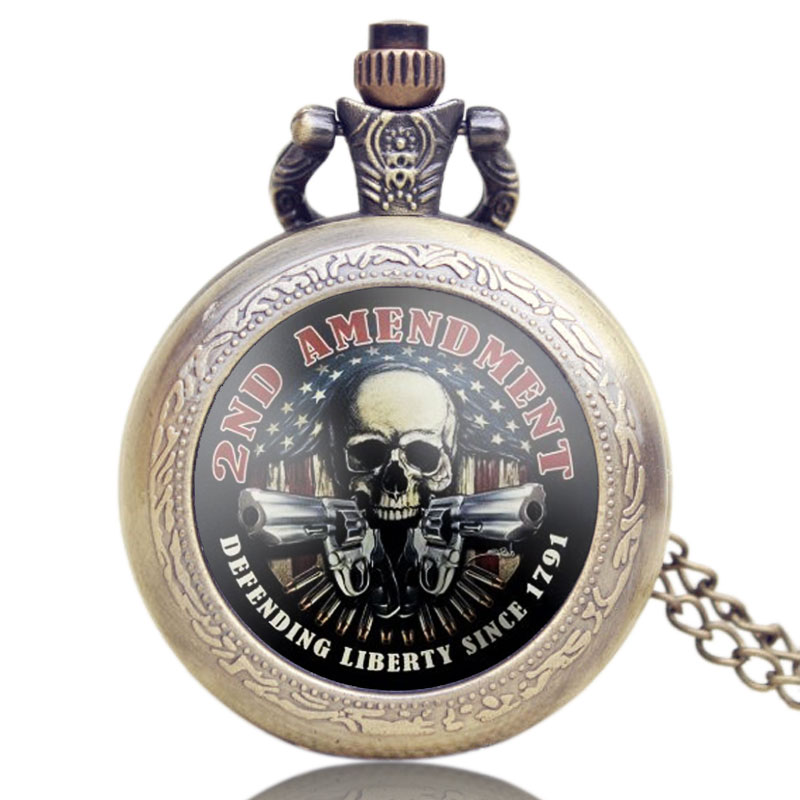 Old Vintage Bronze American 2ND AMENDMENT Design Pocket Watch With Necklace Chain Best Gift