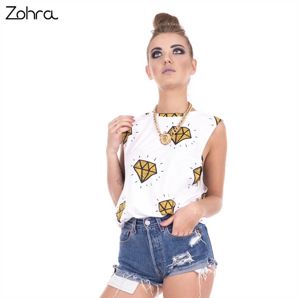 Zohra 2017 New Fashion Women Tops Gold Diamonds Printing Sexy Vest Women Fitness Open Sleeve Tank Top ...