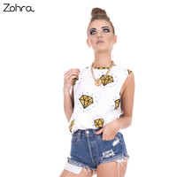Zohra 2017 New Fashion Woman Tanks Top Gold Diamonds Printing Sexy Vest Women Fitness Long Crop