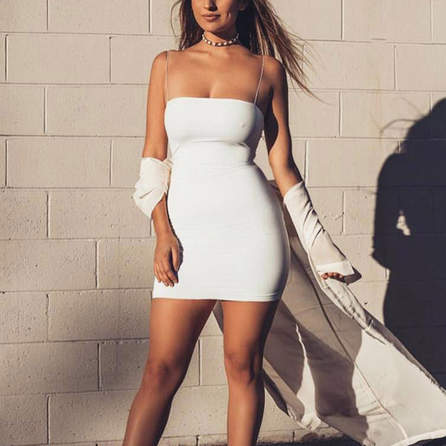 Club Party Mini Black|White Sheath Dress Casual Fashion Solid Color Slim Fit Bodycon Dress