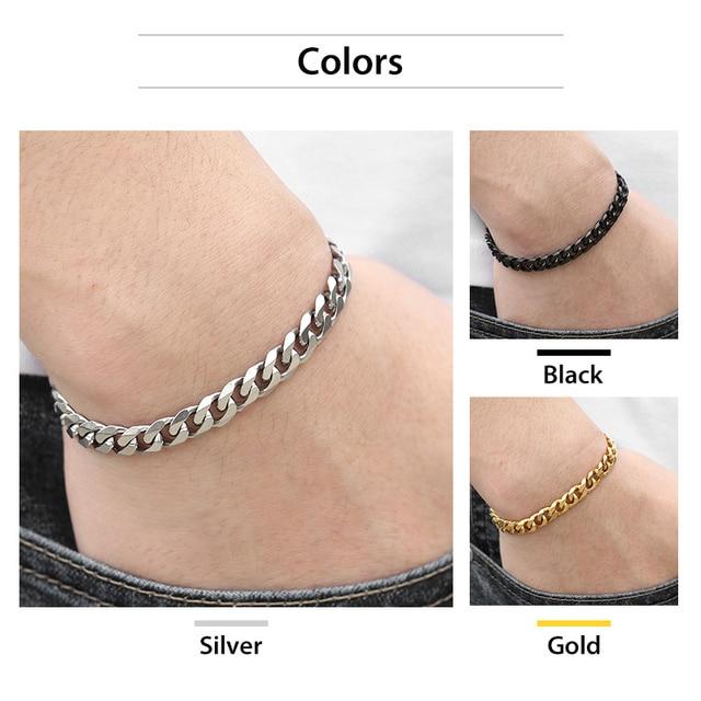 """3-11mm Men's Bracelets Silver Stainless Steel Curb Cuban Link Chain Bracelets For Men Women Wholesale Jewelry Gift 7-10"""" KBM03 3"""