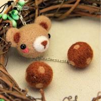 Little Bear Doll Wool Felting Needlepoint Kit Phone Rope Felt Needlecraft DIY Craft Handmade Needlework With