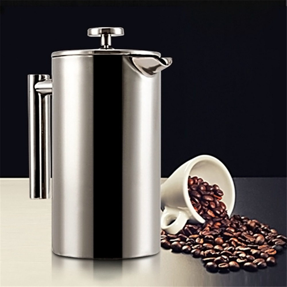 350ML/500ML/800ML/1000ML Stainless Steel French Press Coffee Maker Filter Double Wall Delicate Coffee Maker Tea Pot