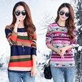 2017 Otoño e invierno suéter corto párrafo, además de terciopelo grueso suéter caliente mujeres ronda de cuello de cobertura camisa de imprimación
