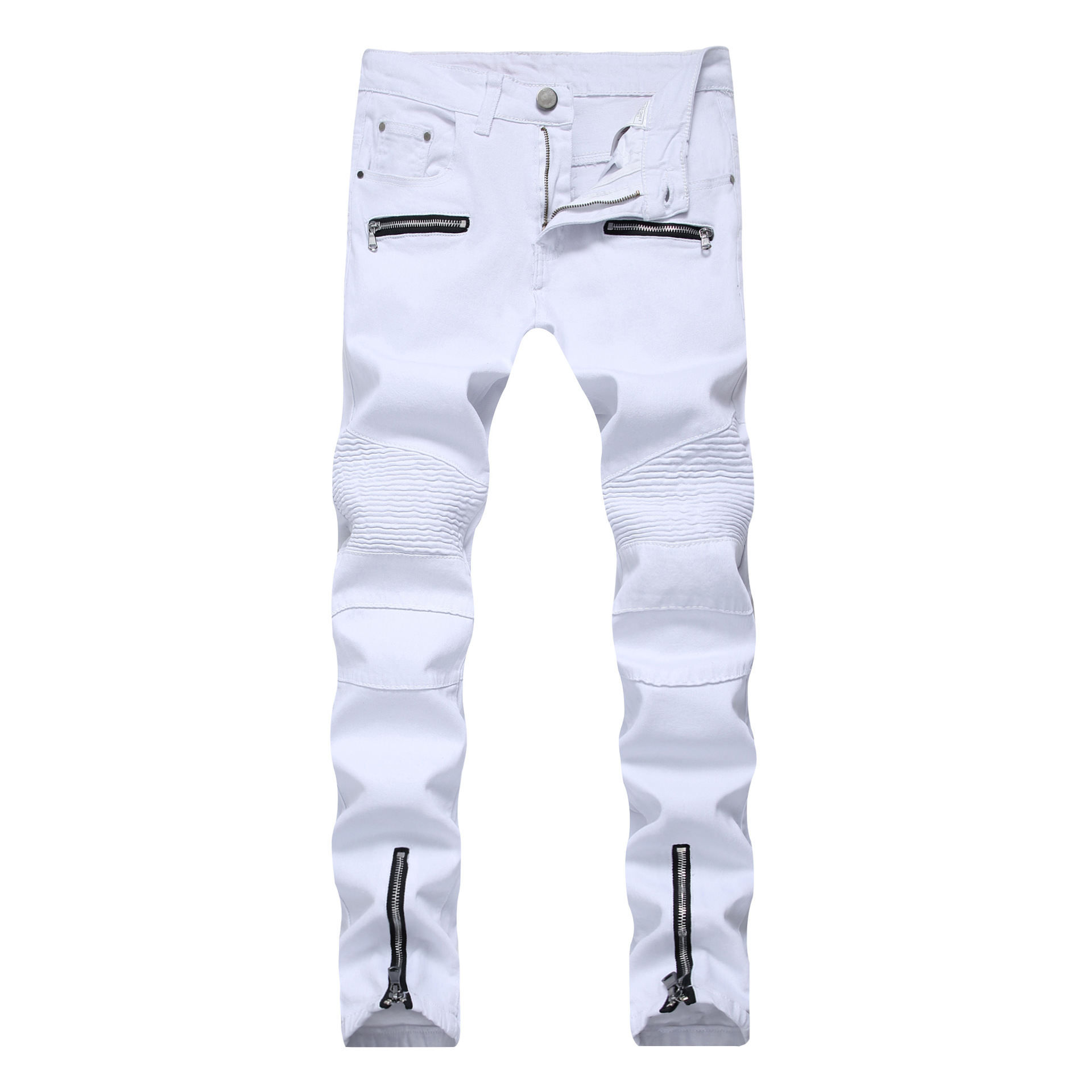 Men high street Motorcycle jeans zipper leisure cowboy trade high elastic denim trousers ...
