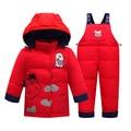 Venda quente vaca 2 pçs/set 0-4years Roupas Crianças Terno Do Bebê Meninas Para Baixo Casaco de Inverno das Crianças Quentes Calças Casacos Snowsuits T0189