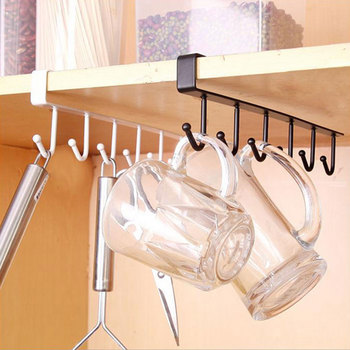 Kitchen Iron Storage Rack Multi-functional Cupboard Hanging Hook Shelf Bathroom Organizer Holder For Towel Cup Drainer Holder