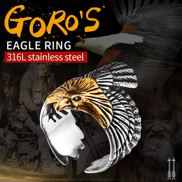 BEIER New Unique Jewelry Stainless Steel Biker Eagle Ring Man's High Quality USA