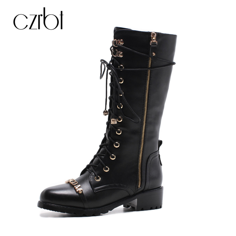 CZEBR Genuine Cow Leather Women Boots Sp Fashion Wedges Heel Black Motorcycle Boots Cross-Tied Metal Decorate Mid Calf Boots stylish women s mid calf boots with solid color and fringe design