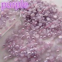 Il trasporto libero 2000 pz puro/bianco perla/rosa/blu/rosso/viola/balck 8mm mezza Perla Della Parte Posteriore Piana Gioielli FAI DA TE accessori