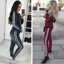 Red Strip Spliced Velvet Sweatsuit tracksuit Set