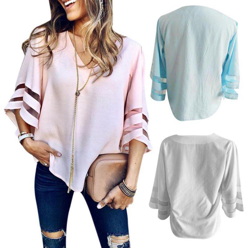 HTB1ISjLKeuSBuNjSsziq6zq8pXaW - Summer streetwear style women cute chiffon blouses casual flare sleeve shirts white loose tops patchwork mesh shirts