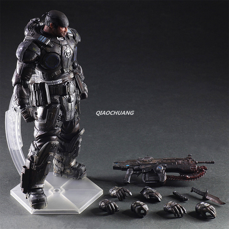 Play Arts Kai Gears of War Adam Fenix's Son Marcus Fenix PVC Action Figure Collectible Model Toy Boxed W160 tobyfancy play arts kai pa marcus fenix game gears of war 3 war machine action figure collection model toy 260mm