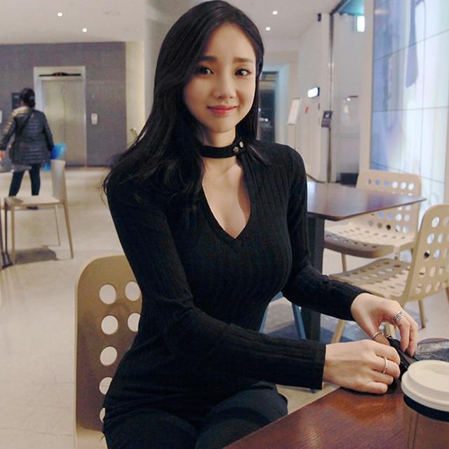 1fe4b84a1f Poleras De Mujer Moda 2018 coreano Tops Sexy Moda Camiseta cuello pico  manga larga Camiseta Mujer