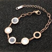Trendy Chain & Link Bracelets for Women Roman Numerals  Stainless Steel Black/white Shell Bracelet Jewelry