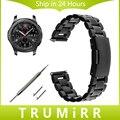 22mm Faixa de Relógio de Aço Inoxidável + Pino de Liberação Rápida + Ferramenta para samsung gear s3 clássico fronteira link pulseira pulseira de prata preto
