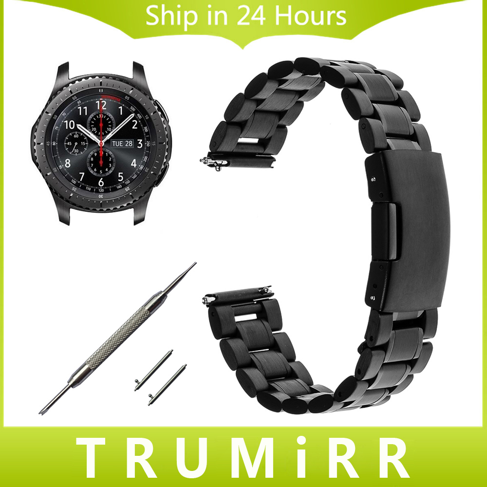 22mm Stainless Steel Watch Band + Quick Release Pin + Tool for Samsung Gear S3 Classic Frontier Link Strap Bracelet Black Silver 20mm milanese watch band quick release for samsung gear s2 classic sm r7320 pebble time round stainless steel strap bracelet