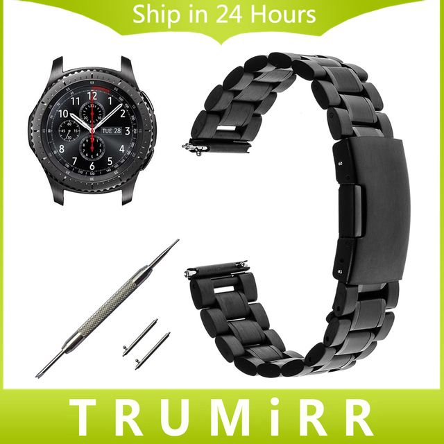 22mm Stainless Steel Watch Band + Quick Release Pin + Tool for Samsung Gear S3 Classic Frontier Link Strap Bracelet Black Silver