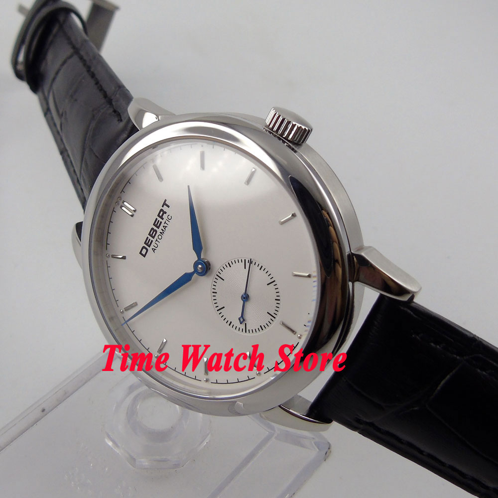 DEBERT 40mm white dial blue hands sapphire glass 5ATM water resistance Automatic movement men's watch DE28 цена и фото