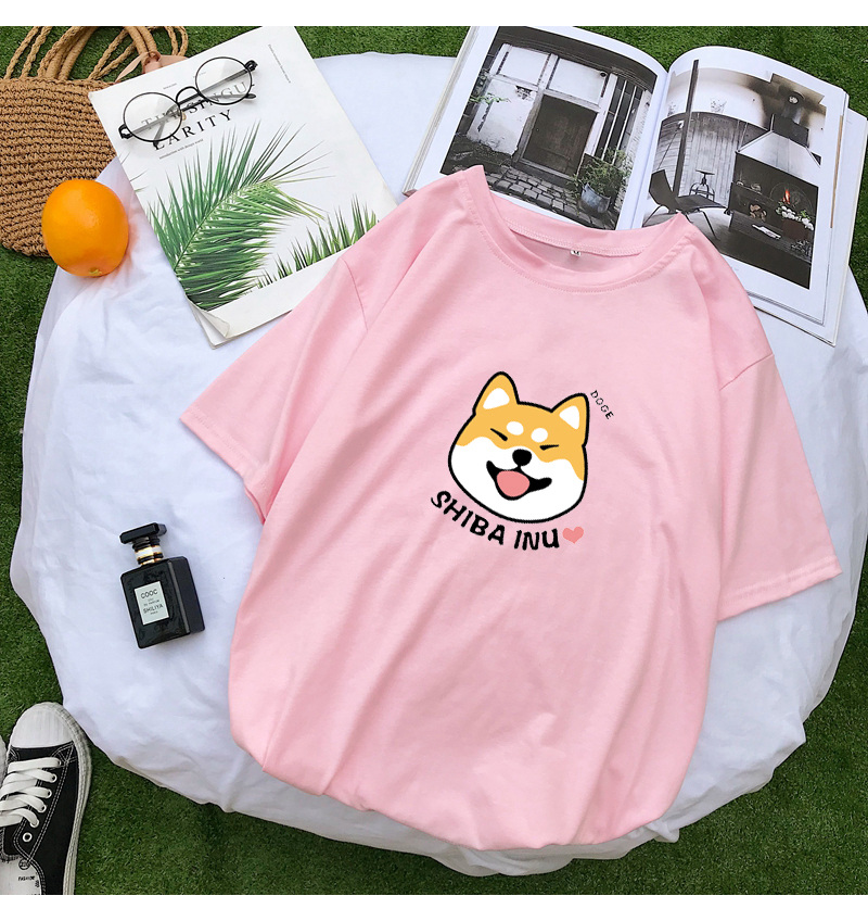Shiba T Shirt Women Summer Kawaii Funny Cartoon Tee Shirt Femme Korean Fashion Clothes Casual Streetwear Harajuku Camiseta Mujer (8)