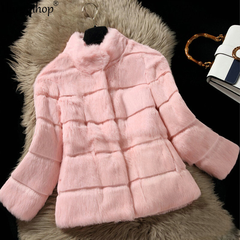 2019 New Real Rabbit Fur Coat Women Rabbit Fur Jacket Full Pelt Rabbit Fur Overcoat With Collar Customized Plus Size